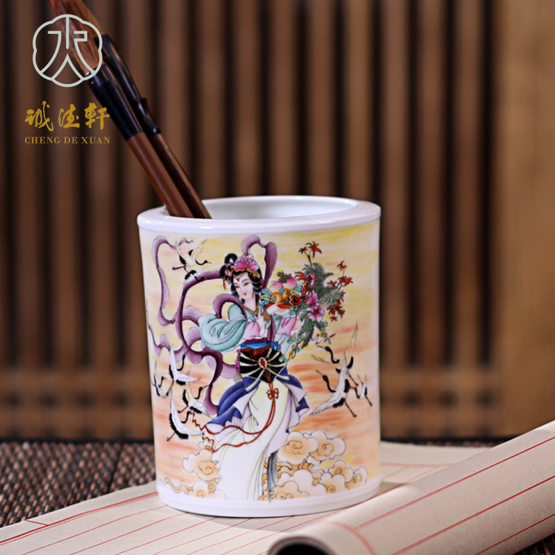Hsuan tsang tak jingdezhen porcelain pen upscale all handmade arts and crafts tea canister ceramic pastel painted work magu xian shou