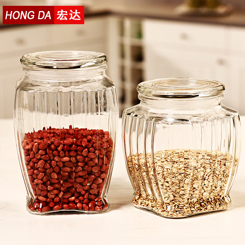 Htc glass bottles sealed cans milk cans tea cans of food grains storage tank storage tank large sugar bowl kitchen supplies