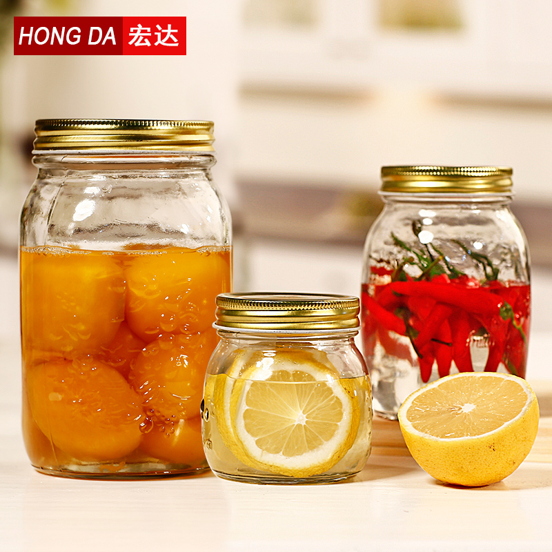 Htc unleaded glass jam jars vacuum sealed food storage jar of honey lemon tea caddy milk cans