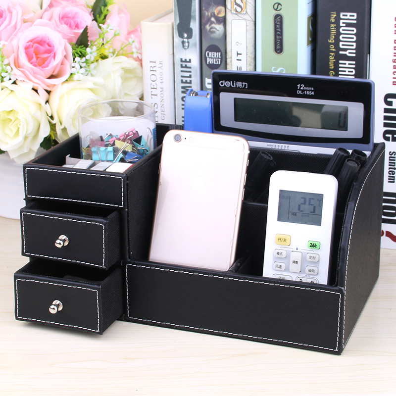 Get Ations Huamei Shi Creative Leather Multifunction Desktop Storage Box With Drawers Debris Seat Office