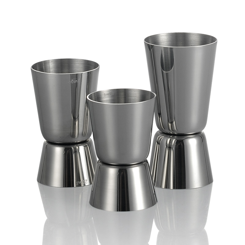 Huang ying stainless steel straight edge ounce cup glass measuring cup ounce cocktail shaker cup measuring cup