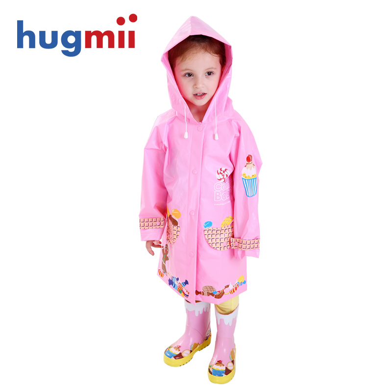 Hugmii children raincoat rain boots suit piece fitted baby boys and girls students poncho rain boots korea environmentally friendly shipping