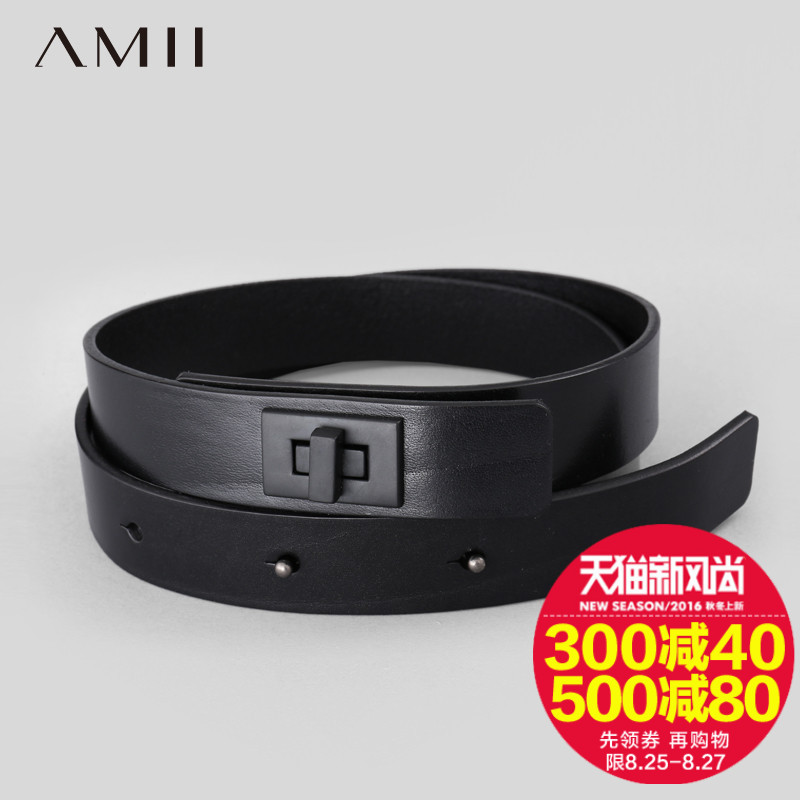 [Hui] amii [minimalism] 2016 spring and summer new fashion first layer of leather square buckle fine decorative belt 116