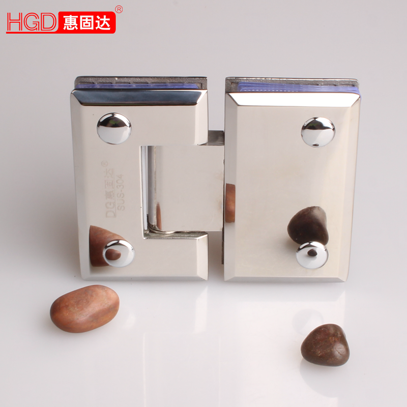 Hui solid cast 304 stainless steel bathroom clip glass door hinge glass door hinge hinge 180 degree bevel solid