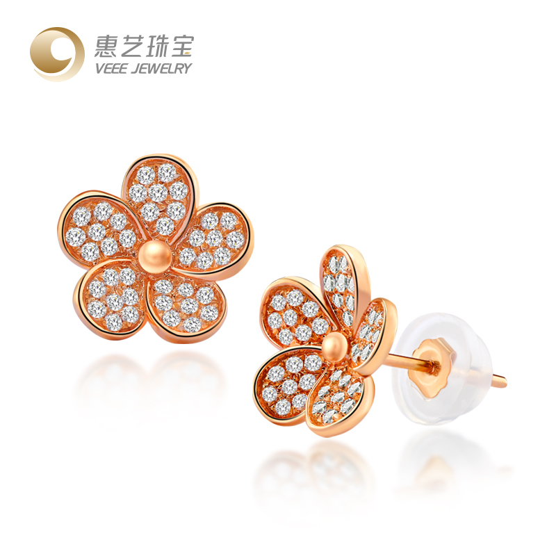 Hui yi dimensional flowers diamond earrings zircon jewelry k gold rose gold color gold earrings high atmosphere