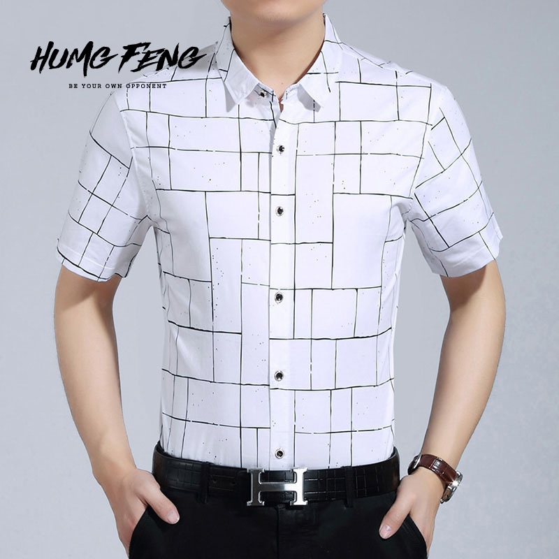 Humg feng/fierce wind summer new grid casual shirts casual fashion thin section men's short sleeve shirt