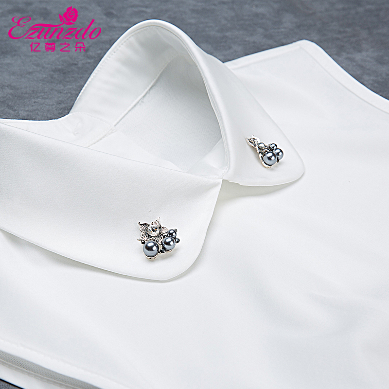 Hundreds of millions of duo of respect for the korean version of a solid color shirt collar false collar female models wild winter decorative collar fake fake fake collar child rhinestone Collar