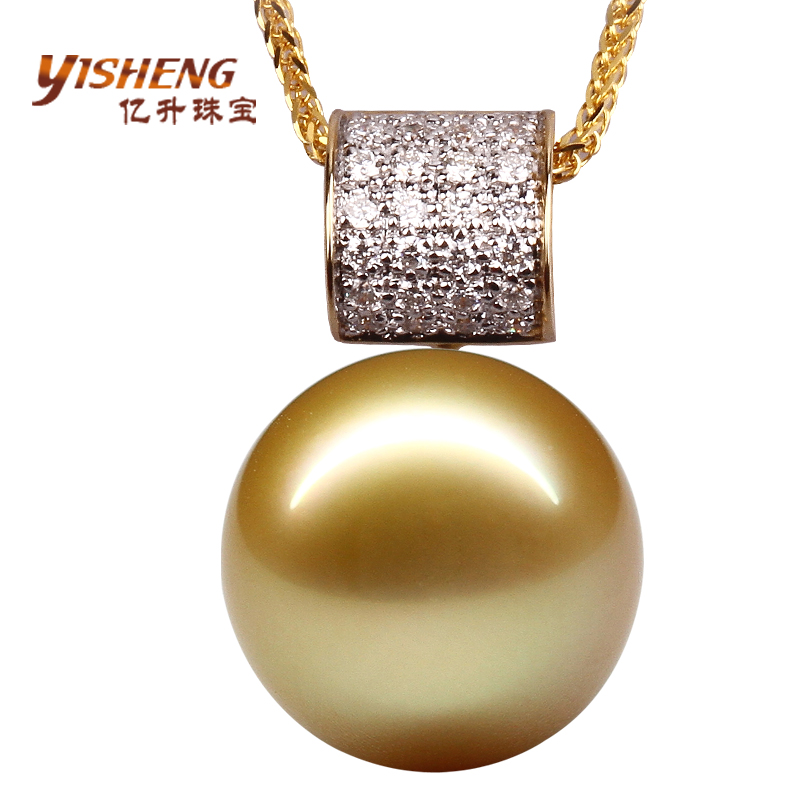Hundreds of millions ofåtianrun natural seawater nanyang kim pendant necklace jewelry k gold diamond gold pearl pendant perfect circle