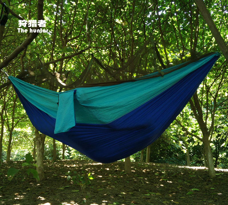 Hunters double hammock swing outdoor camping military air tent with mosquito nets mosquito reticularis blue