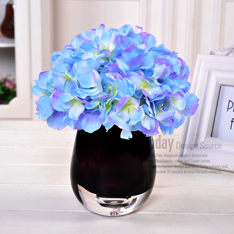 Hydrangea vase overall floral home decor artificial flowers silk flower artificial flowers suit the living room decorative flower ornaments