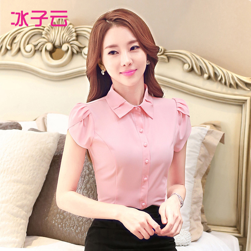 Ice clouds child 2016 spring and summer new women's short sleeve shirt korean version of slim was thin sweet petal sleeve shirt blouse