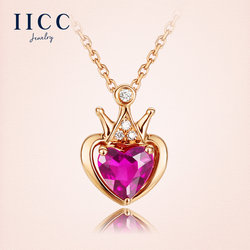 IiCC18K gold crown heart clavicle chain necklace female natural red tourmaline gemstone pendant necklace color gold necklace
