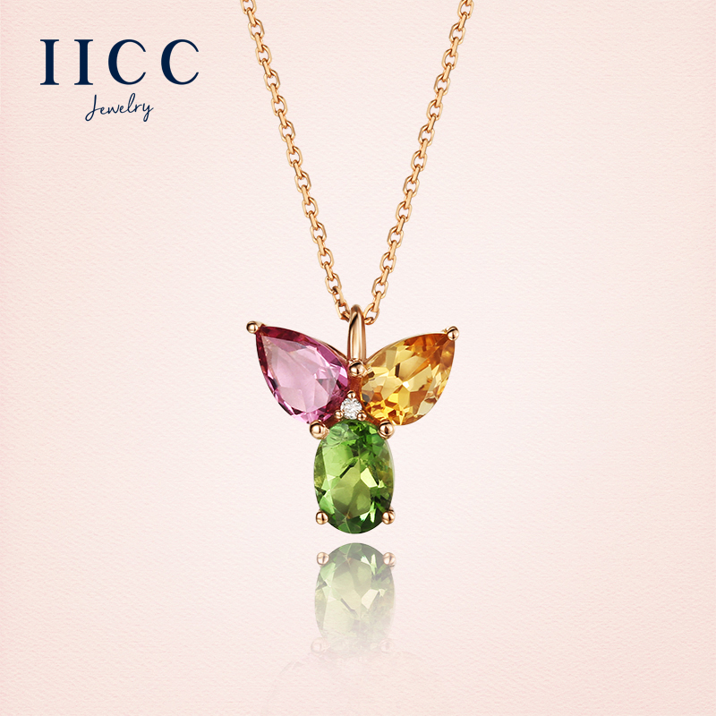 IiCC18K gold necklace female natural colored gemstone tourmaline pendant k gold jewelry clavicle simple chain
