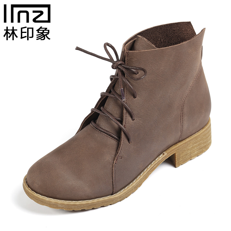 Iinzi authentic handmade first layer of leather with lace in martin retro british literary sen department of female boots slip