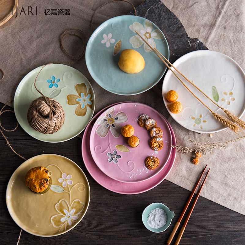 Ijarl billion ka creative japanese and korean style home painted ceramic tableware circular flat plate dish steak dish steak dish