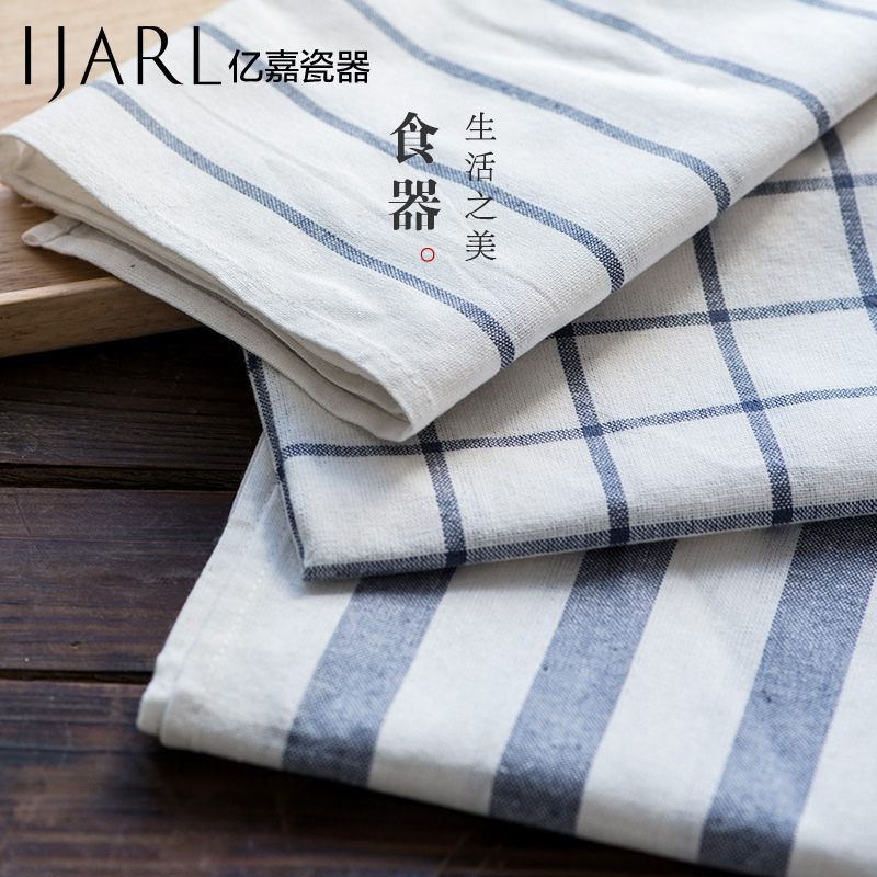 Ijarl japanese fresh linen plaid striped cotton placemat insulation mat table cloth mat kitchen