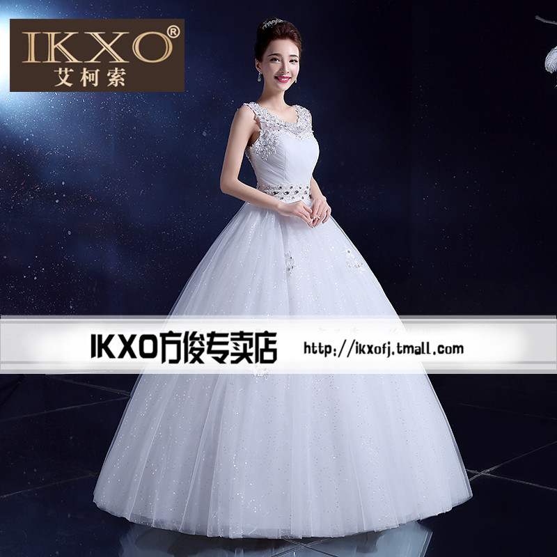 Ikxo2015 autumn new korean fashion style shoulder wedding dress word shoulder wedding dress qi bride was thin
