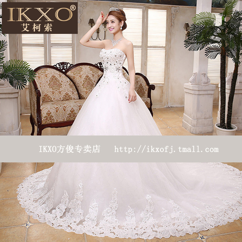 Ikxo2015 fashion wedding dress trailing new autumn korean bra long tail wedding bride wedding dress