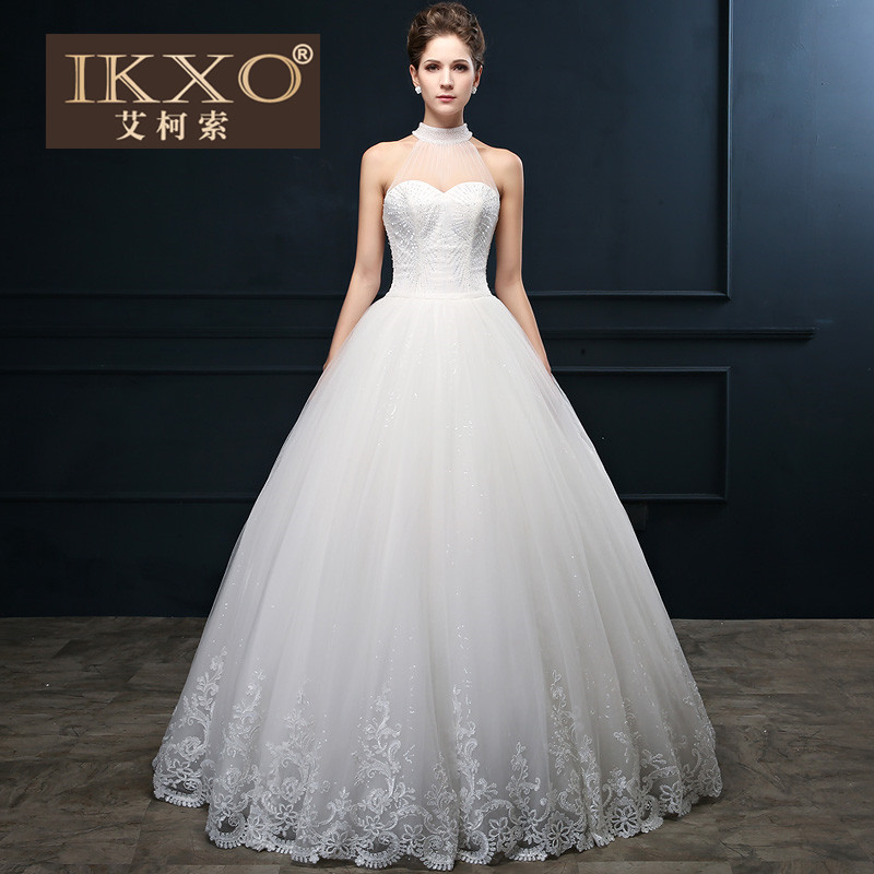 Ikxo2015 qi sequined halter bride wedding dress big yards autumn autumn fashion lace wedding white wedding dress yarn