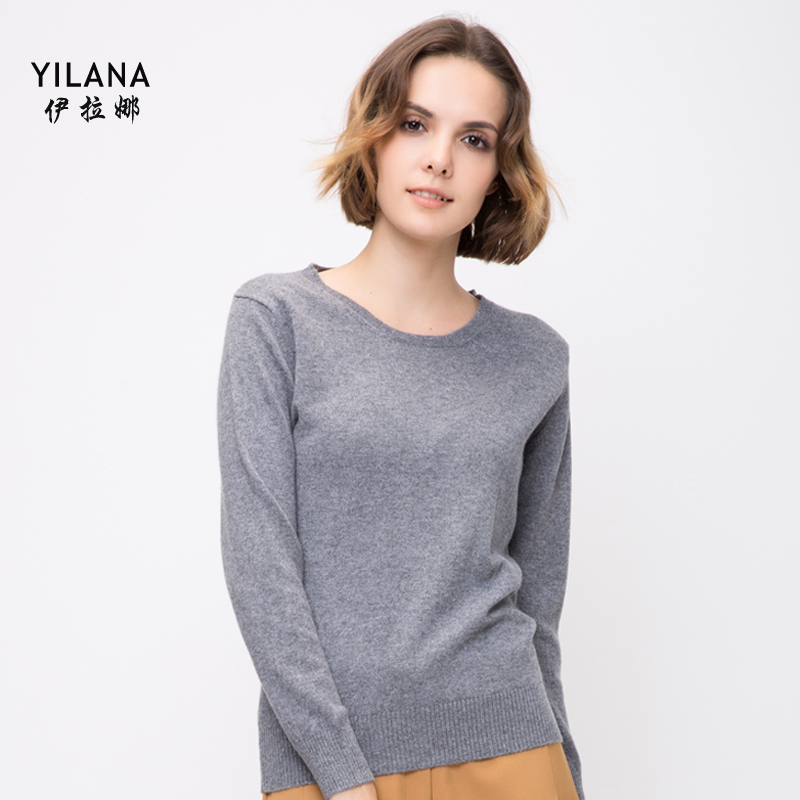 Ilana pure cashmere round neck cashmere sweater women slim solid color long sleeve sweater female winter sweater bottoming wild