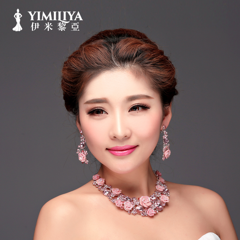 Imi li ya suit wedding accessories bridal jewelry wedding jewelry sets bridal chain necklace piece suit korean