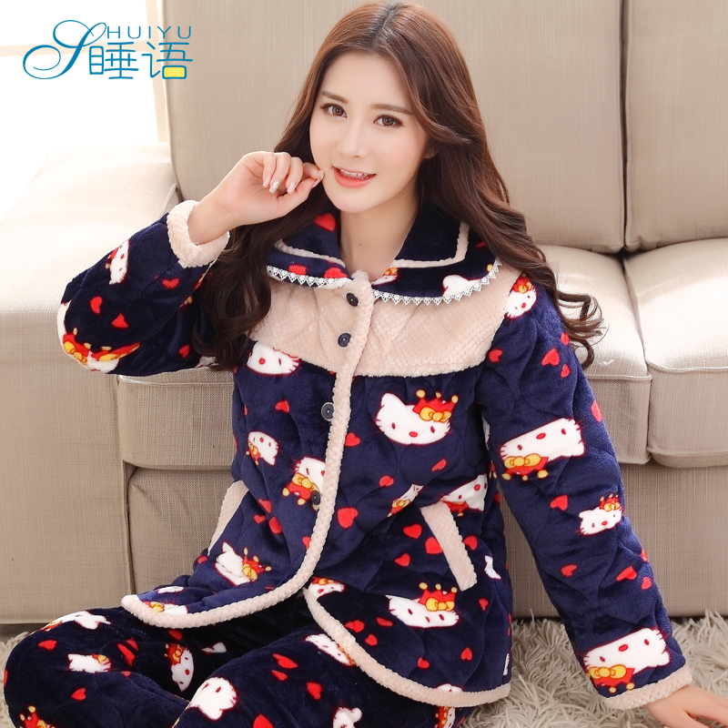 In sleep pajamas female winter thick cotton quilted pajamas female autumn long sleeve pajamas women tracksuit suit