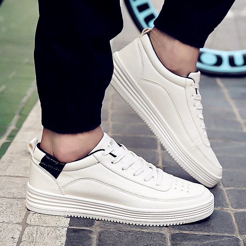 In the fall of white shoes breathable men's sports shoes casual shoes student shoes tide shoes korean version of the trend of wild influx of men shoes