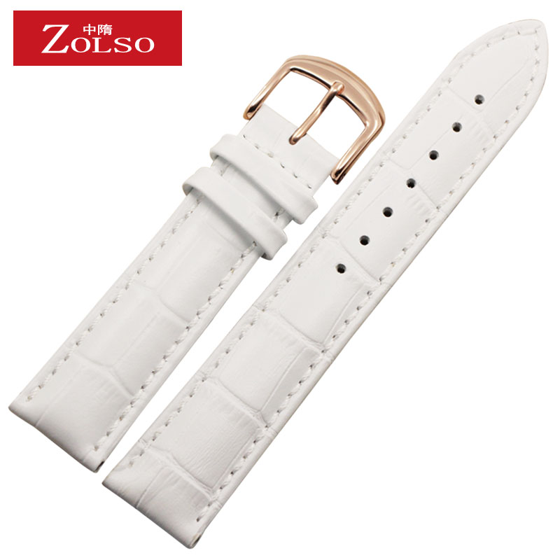 In the sui zolso applicable guess rose gold buckle gold buckle white leather strap leather strap 12-22mm