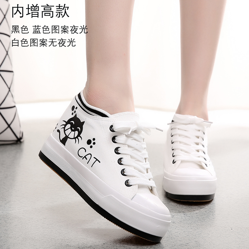 Increased within the korean version of spring and summer to help low canvas shoes women lace cloth shoes students casual shoes women shoes luminous cat fish