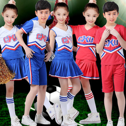 Infant child adult male and female students on campus girlhood cheerleading cheerleading costumes performance clothing suit