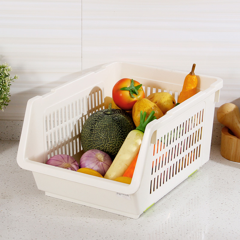 Influx ofä¸æ½®western beige 3 installed can be superimposed plastic storage baskets large storage basket basket of fruits and vegetables and kitchen table