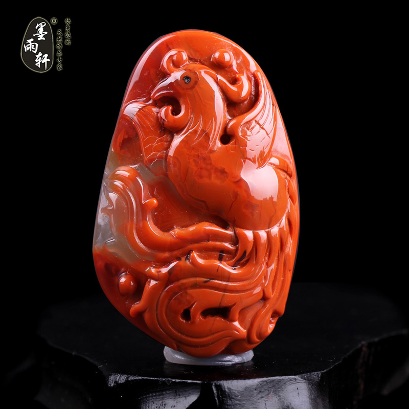 Ink yu xuan natural liangshan south onyx pendant phoenix southern red persimmon red stone pendant carved pieces q55