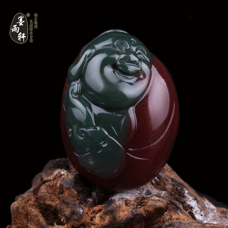 Ink yu xuan natural yanyuan liangshan southern red agate carved pieces of material buddha pendant light green jade pendant a matter of a map no. 6