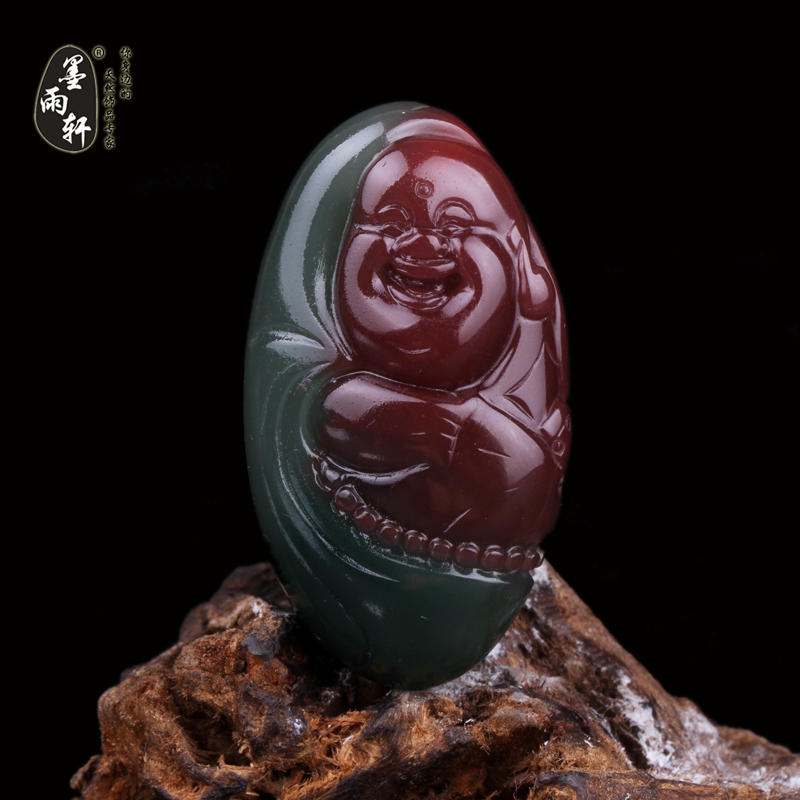 Ink yu xuan natural yanyuan liangshan southern red agate carved pieces of material maitreya pendant pendant pendant play no. 5