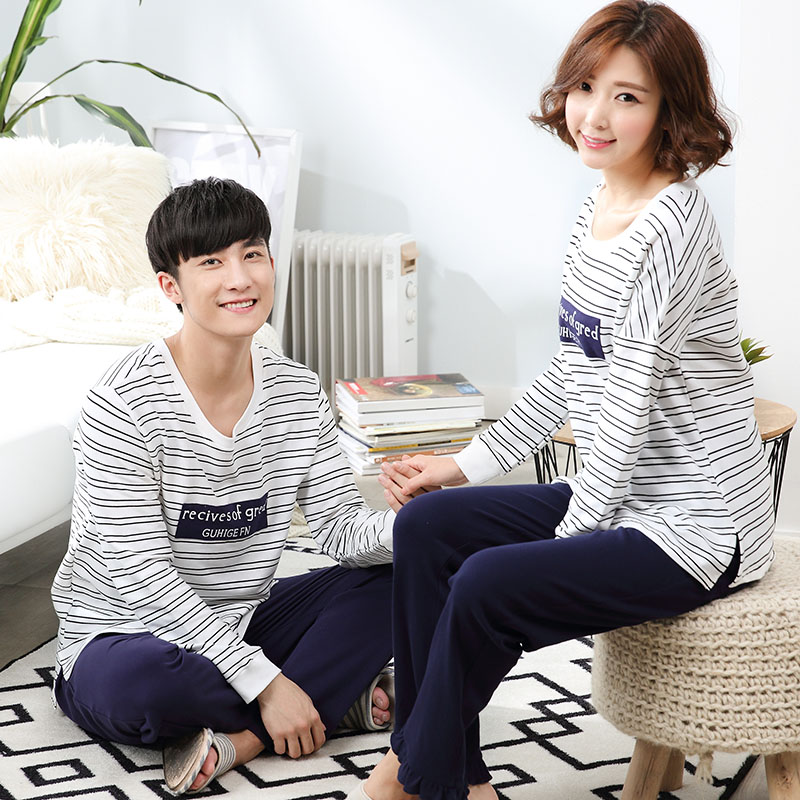 Get Quotations · Inspired by the family autumn korean fashion casual outer  wear striped long sleeve cotton pajamas couple 2ef958328