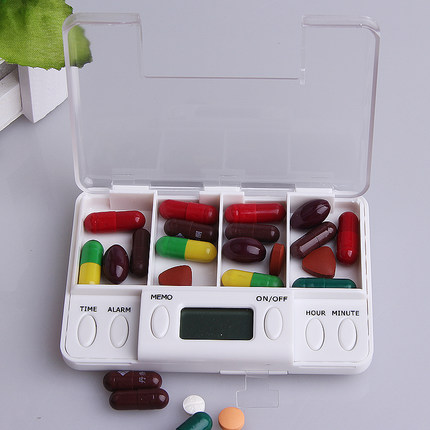 Intelligent electronic timing kit portable kit fourfold medication reminders elderly eat medicine reminder repackaging kit