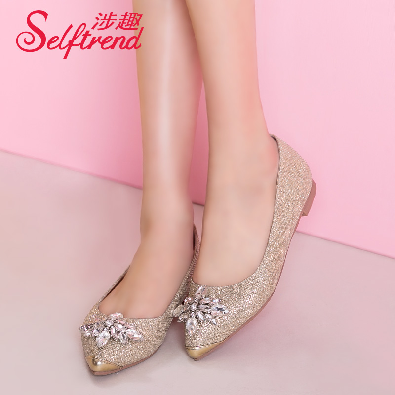 Interest involving 2015 spring korean version of sparkling diamond ladies flat shoes shallow mouth pointed W51673