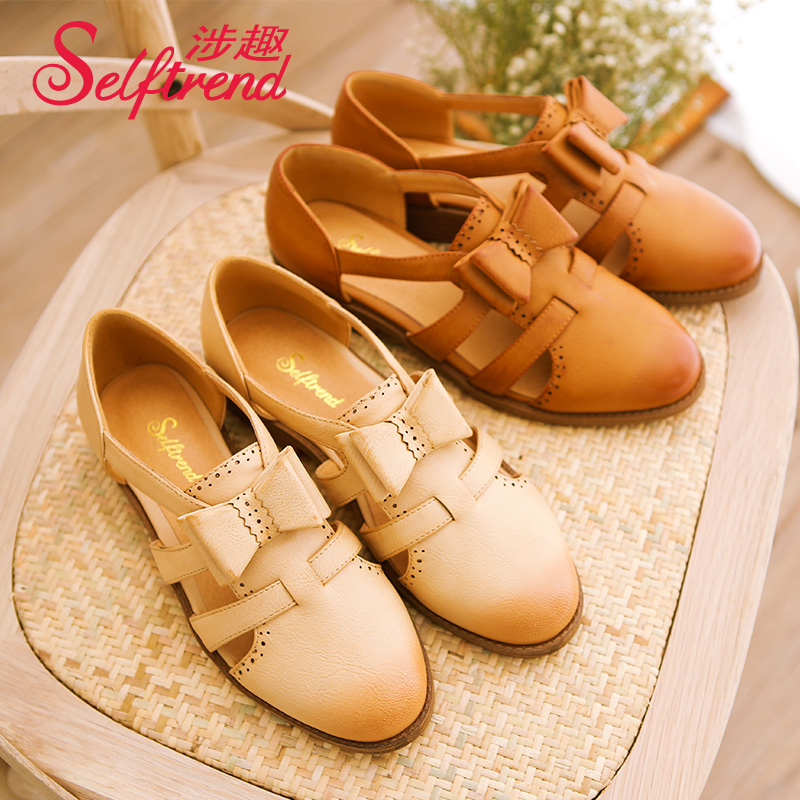 Interest involving female summer flat sandals students sandals baotou hollow sen female line bow with flat shoes