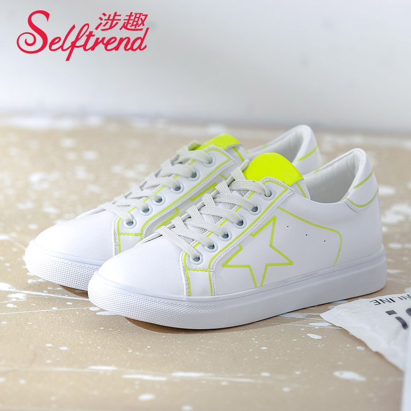 Interest involving genuine white shoes women shoes fluorescent luminous shoes women shoes student shoes 2016 new fall flat shoes casual shoes