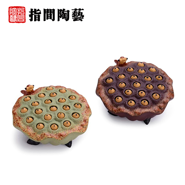 Interphalangeal water-jet water-jet yixing pottery tea pet boutique handmade ornaments play ya play to raise the pot lid prop