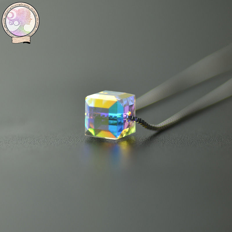 Iraqæ´ä¼ è³| 925 silver austrian crystal cube sugar bone lock pendant chain necklace female korean accessories
