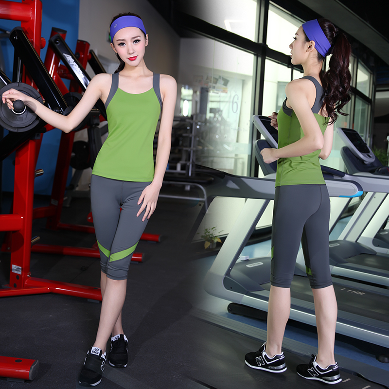 Iraq lotus flower 2016 new spring and summer yoga clothes suit increasingly workout clothes female sports vest running fitness pants bunched