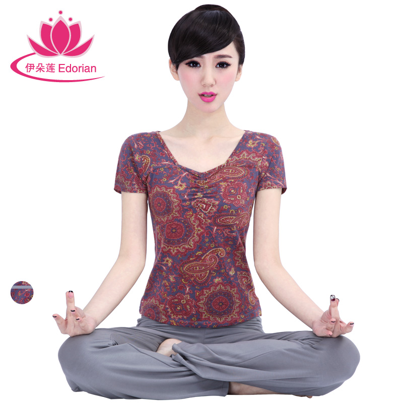 Iraq lotus flower yoga clothes new spring and summer suit female fashion printed short sleeve yoga clothes increasingly fitness sportswear