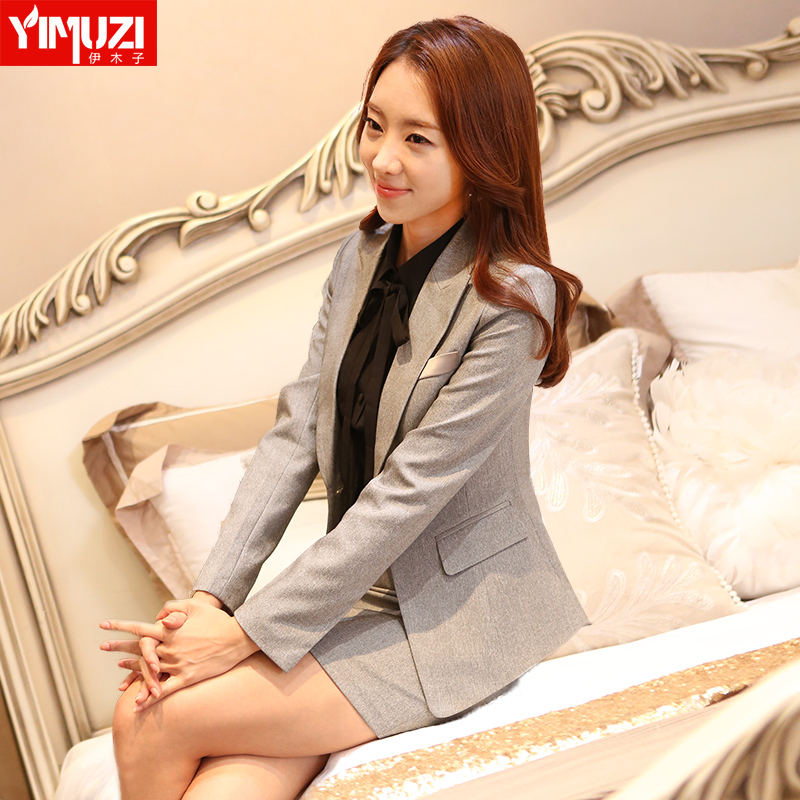 Iraq muzi light gray skirt professional women's one button suit skirt piece suit overalls interview suits