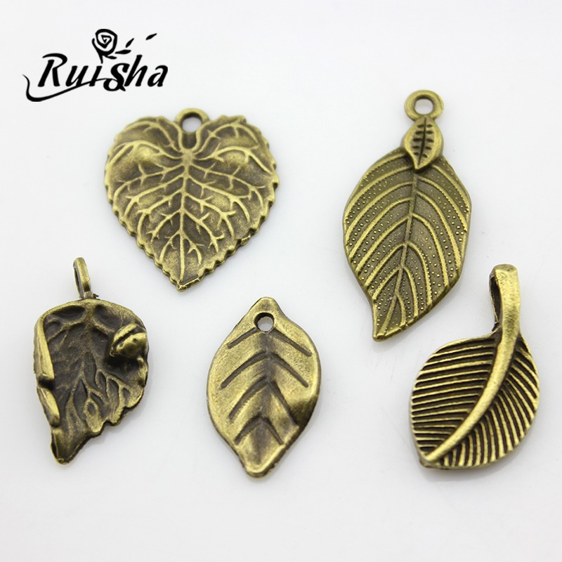 Iressa diy jewelry materials retro accessories factory direct work small bronze beaded tree leaves leaves