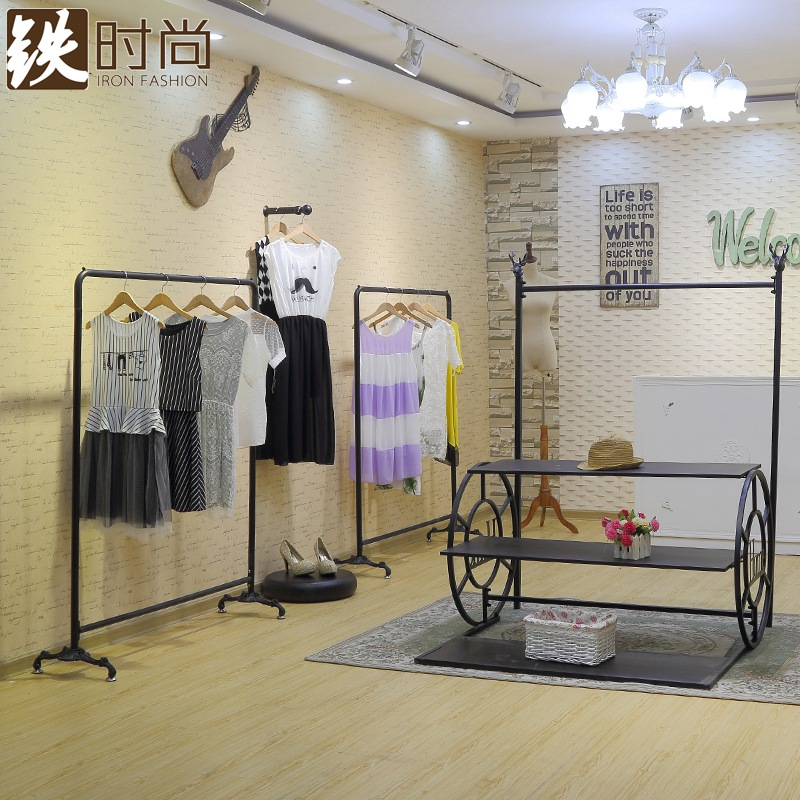 Iron european fashion wrought iron clothing rack clothing store shelf floor display racks in the island shelf garment rack on the wall
