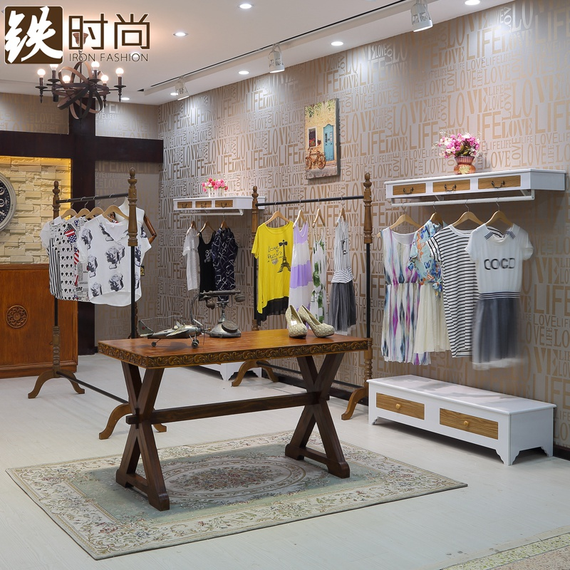 Iron fashion clothing store display rack on the wall display rack clothing rack hanger ladieswear cargo rack combination