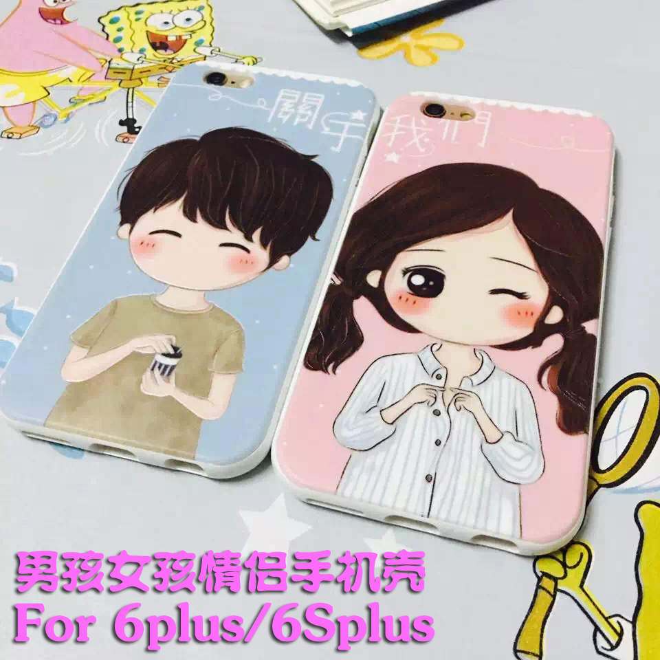Irst apple iphone6plus 6splus boy and girl couple phone protective shell protective sleeve cute cartoon tide