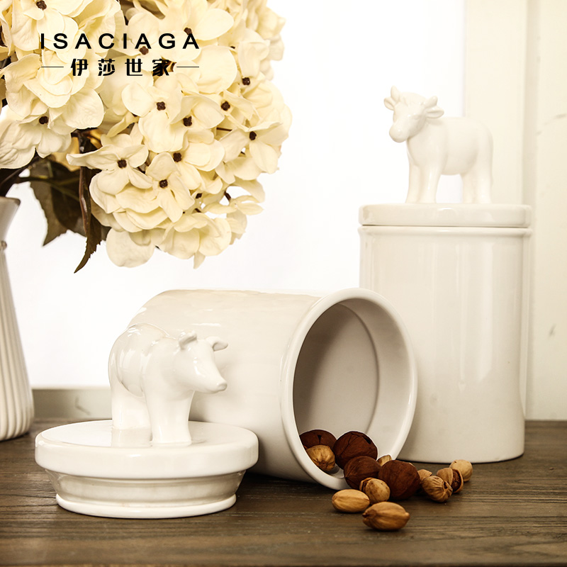 Isa family animal storage tank american country lahti white glazed ceramic jar sealed cans of tea