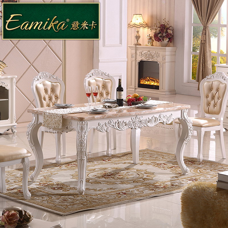 Italian mika european marble dining table dinette combination of small apartment 6 people dining table pastoral wood dining table EZ929